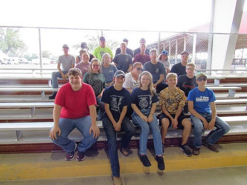 CMSF FFA students who competed in the Agriculture Youth Day are (front row left to right) Ethan Morse, Kyle Bristow, Laura Talandis, Malaki Metcalf, and Braden Snodgrass. (second row left to right) Cydney Maxfield, Sierra Scott, and Colton Rice. (third row left to right) Kitana Rees, Emmalee Fly, David Leiter, and Hunter Patterson. (fourth row left to right) Easton Dalton, Judd Patterson, Jacob Reeves, DC Stout, and Hunter Denney. (top row left to right) Jeremy Choat, Bryer Reynolds, and Mason Owens.