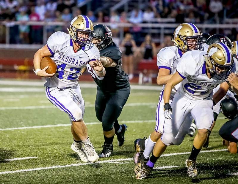 Aiden Kuhn rushed for 82 yards on 15 carries with his longest being a 14-yard run against Johnston City in Week 1.
