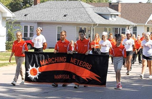 The Marching Meteors from Marissa participate in the parade.