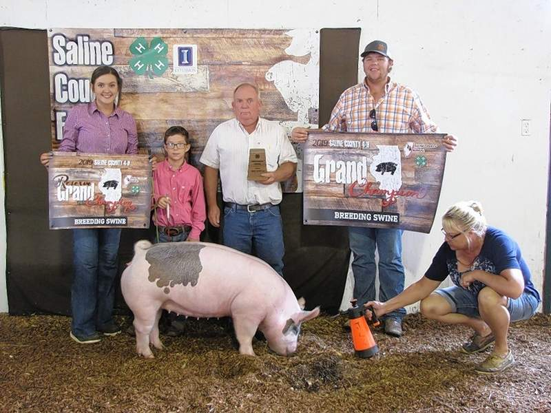 PHOTO COURTESY OF NANCY LAMBERT2019 Overall Breeding Gilt Champion, Karson Baird and Reserve Champion, Kate Bond.