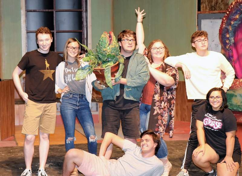 "The cast of ""Little Shop of Horrors"" hits their final pose of the song, ""Ya Never Know."" Back row, from left are Carter Reed of Harrisburg, Addison Bean of Ridgway, Jack Gulley of Harrisburg, Alex Morris of Carrier Mills, and Tucker Murphy of Golconda. In front is Levi Titsworth of Harrisburg and Nikole Lamont of Carmi."