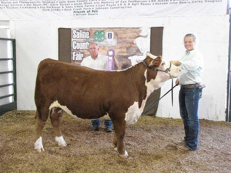 2019 Saline County 4-H Breeding Hereford Reserve Champion, Haylee Brown, with judge Tim Quiggins.