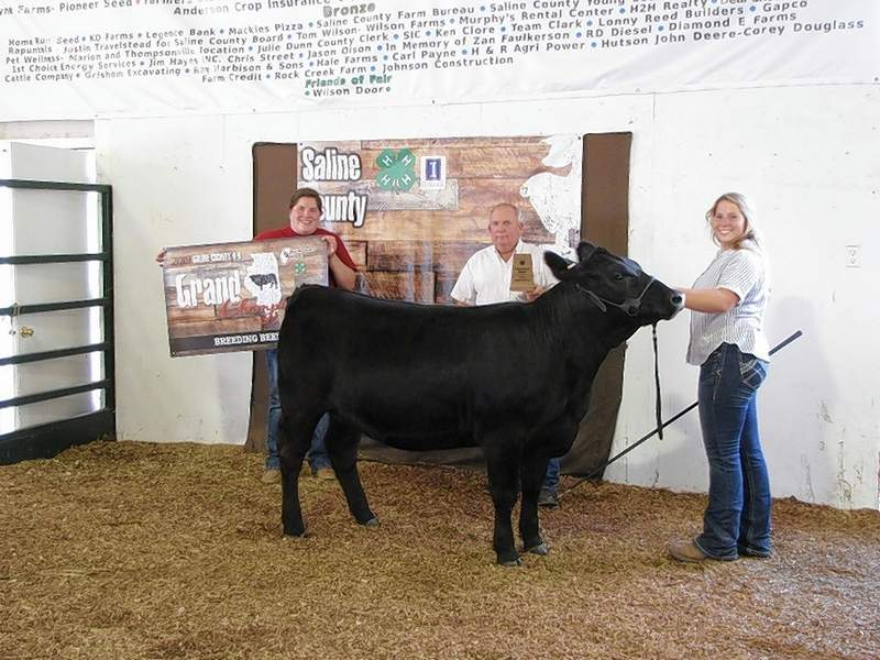 2019 Breeding Beef Overall Champion and Overall Reserve Champion, Katherine Smith, with judge Tim Quiggins and Saline County Farm Bureau Manager, Marisa Davis.