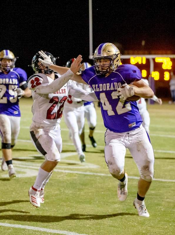 Aidan Kuhn had 64 yards on 11 carries and one touchdown in Eldorado's loss to Fairfield Friday night.