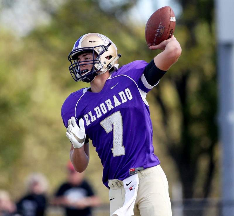 Eldorado senior quarterback Aidan Whitlock has thrown for 602 yards this season, including six touchdowns. On Saturday, Whitlock and the Eagles travel to Bismark-Henning for a 2A first round playoffgame.
