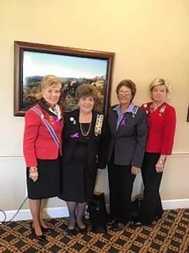 Illinois State Regent Sharla Luken, left, visited with Michael Hillegas members Sharon L. Tanner, regent; Joy Richey, treasurer; and Kathy R. Morris, vice regent