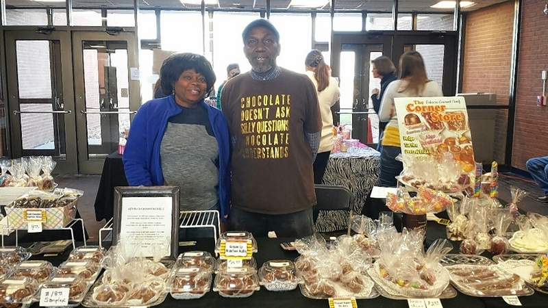 Mary and Robert Gentry, owners of The Corner Store in Cape Girardau, Missouri, display some of the many hand-made candies they sell at Heritage Fest.