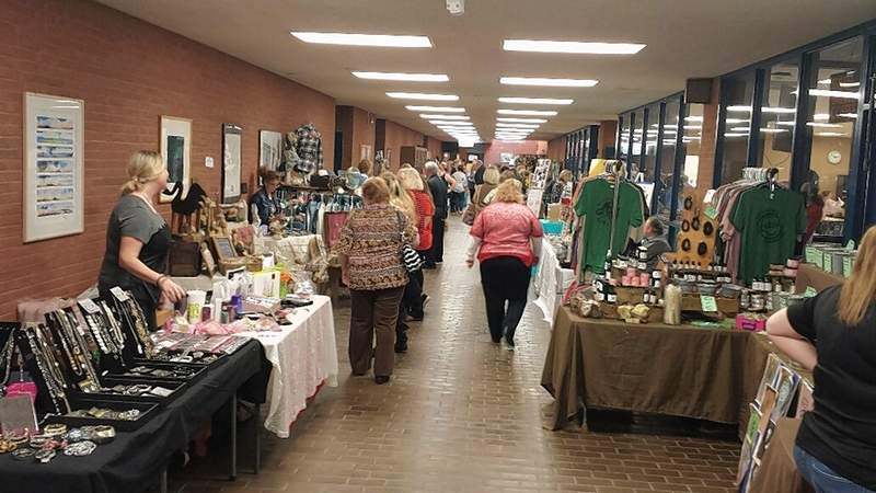Vendors line both sides of the hallway at Southeastern Illinois College's Heritage Fest.