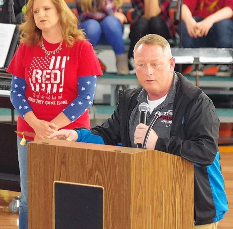 Chester Police Chief Bobby Helmers, also a veteran, is the keynote speaker. To his right is Mary Bohnert.