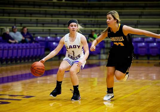 Eldorado's Paige Munds had 13 points in the Eagles' 54-47 win over Goreville in the season opener Thursday night at Duff-Kingston Gymnasium.