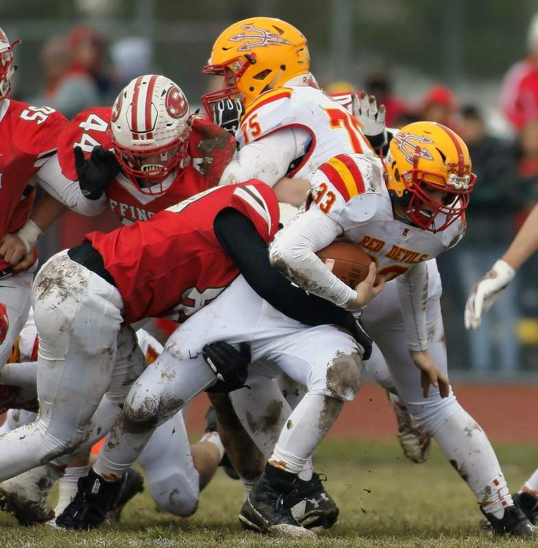 Aiden McNitt tries to pick up an extra yard or two during one of five carries last Saturday afternoon against Effingham.