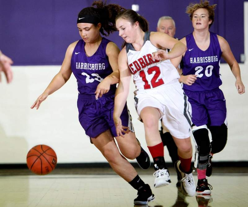 Harrisburg's Essence Sanders (left) and West Frankfort's Madison Carpenter battle for a loose ball in Monday night's action of the Harrisburg Invitational at Davenport Gymnasium.