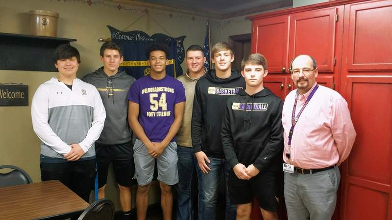 The varsity Eldorado Eagles boys basketball team visited Eldorado Rotary Tuesday afternoon at Dad's BBQ in Eldorado.From left are Bryant Byrd, Nolan Milligan, Ladayyea Shewmaker, Coach Josh Bradley, Aiden Whitlock, Hunter Sizemore and Rotary member David Aldridge.