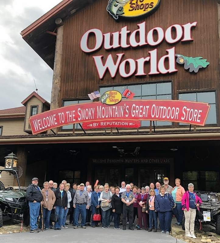 Tourists on Buena Vista National Bank's recent trip to the Smoky Mountains stopped at a Bass Pro Shop on their way home.