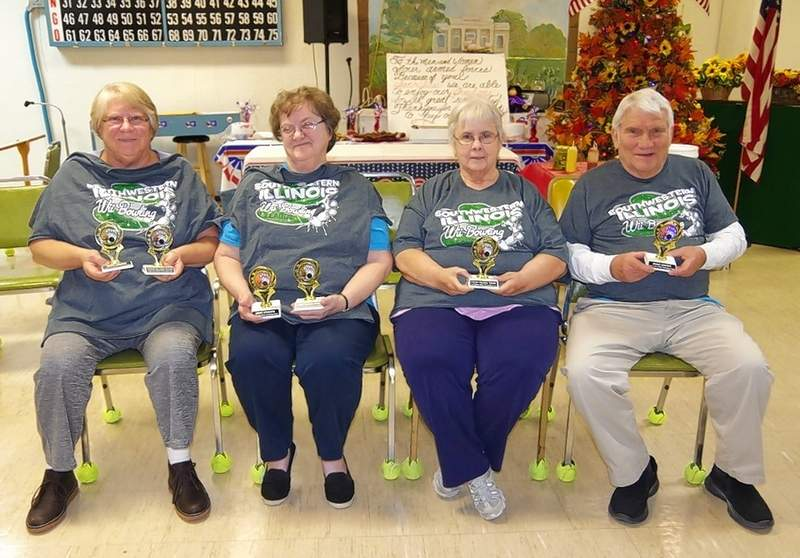 Three of the four members of the winning Wii team from the Chester Senior Center, are, from left, Cindy Phillips, JoAnn Warren and Barb Skinner. Marlene Eckert was not present. At right is Carl Welge, who won half of the Most Spares award.