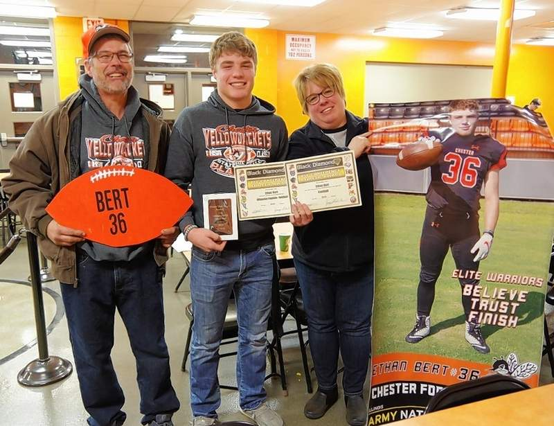 Proud parents Tim and Michelle Bert with their son, senior Ethan Bert, who was the Yellow Jackets' 2019 Offensive MVP; the Black Diamond Conference Offensive Captain; and an All-Conference 1st Team member.