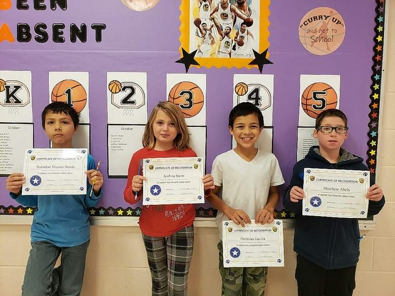 Carrier Mills-Stonefort Grade School announces its Top Cats Students of the Week for Nov. 4.  The Top Cats are, from left, Brandon Munoz-Steele (third grade), Andrea Snow (third grade), Nicholas Garcia (fourth grade), and Matthew Abels (fifth grade).