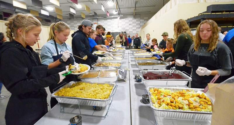 The Pavilion of the City of Marion was the site for the first communitywide Thanksgiving dinner on Thursday. This behind-the-scenes look at the food prep area shows just how much effort is required for such a benevolent affair that was ready to serve up to 3,000 guests. The event was sponsored by The City of Marion along with Heaven's Kitchen Marion, a community mission lead by the Diederich Foundation and the Fowler Bonan Foundation.