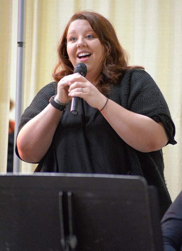 Kaitie Done provided live vocals accompanied by her mother, Holly Kee, on the keyboardat the Thanksgiving dinner Thursday. Done is a Johnston City native who currently resides in Belleville.