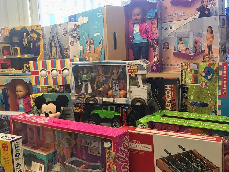 """Donations, like those from the Gander Outdoors drive, are put in a room at St. Louis Children's Hospital that the staff has named """"Snowflake Village."""" Children can choose a toy or gift they would like to have."""