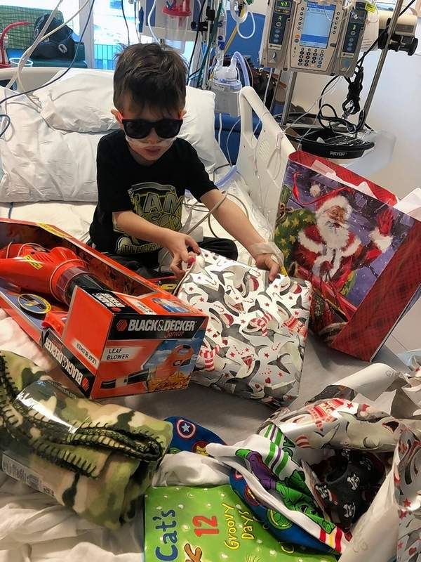 Remy Murphy, 5, was one of hundreds of kids that had a Christmas celebration even though he was in the hospital hours from his West Frankfort home.