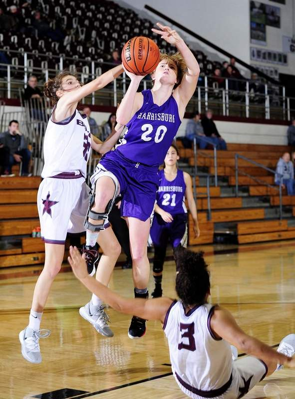 CHRIS KAYS | For The NewsHarrisburg's Lauren McDaniel goes up for two points in the Bulldogs' loss to Benton in the semifinals of the Rangerette Christmas Classic Monday at Rich Herrin Gymnasium in Benton.