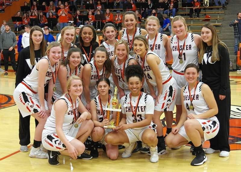 With their championship trophy are, front row, kneeling, Ally Rowold, Torre Berger, Destiny Williams and Alysa Seymour. Row 2, from left are Audrey Hopper, Camryn Howie, Kendall Williams, Peyton Clendenin and Reese Chandler. Back row, from left, are Aubrie Medford, Josie Kattenbraker, Maleia Absher, Trinity Brown, Kailyn Absher, Katie Shinabargar, Ashlyn Colvis and Sydney Collins.