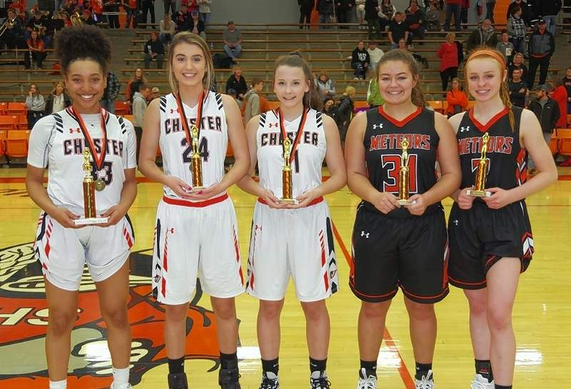 Named to the All Tournament Team, are, from left: Destiny Williams (33), Chester, team captain; Reese Chandler (24), Chester; Kendall Williams (11), Chester; Macey Schreiber (31), Marissa-Coulterville; and Emily Smith (3), Marissa-Coulterville. Not pictured: Danika White, New Athens; Sam Cottom, Trico; Jenna Hartline, Cobden; Lainey Morris, Elverado; and Sydney Rheinecker, Sparta.
