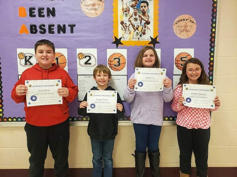 Top Cats Students of the Week for Jan. 27, from left, Avery Dunn (fifth grade), George Turner (third grade), Brielle Fox (fourth grade), and Kynslee Hancock (third grade).