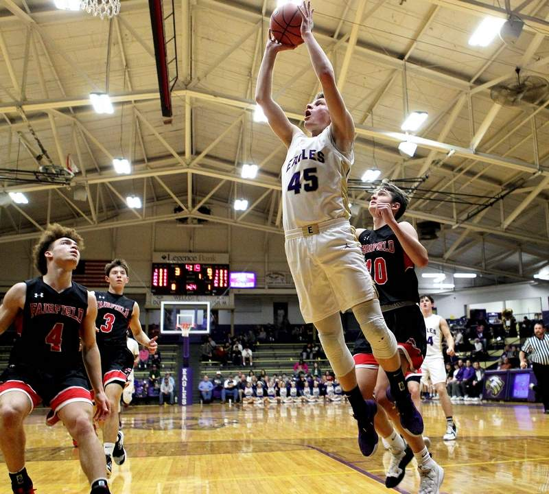 Eldorado Nolan Milligan goes up for two of his nine points against Fairfield Friday night.
