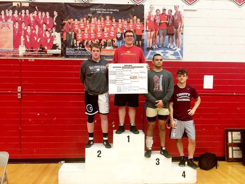 Tucker Bryant (far left) took second place at the Vandalia Sectional Saturday, losing to Lawrenceburg Latham Adam Maxwell in the second period. Bryant will take part in this week's state tournament in Champaign, starting Thursday.