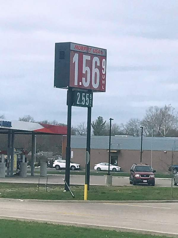 Gas prices continued to drop in Harrisburg on Monday, at this point hitting $1.569 per gallon.