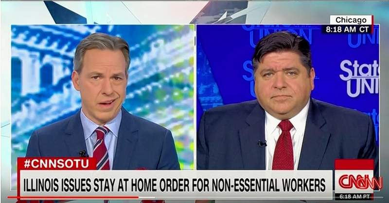 "Gov. JB Pritzker appeared Sunday morning on CNN's ""State of the Union"" show with Jake Tapper and said, ""There is no doubt that the economy is being significantly harmed by the delays that the federal government had during January and February getting going dealing with this. That's why we've had to go on stay-at-home orders or keeping kids at home or closing bars and restaurants and so on."""