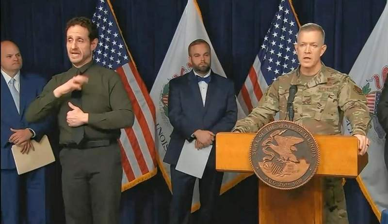 Brig. Gen. Richard Neely, adjutant general of the Illinois National Guard, addresses rumors about the Guard's involvement in the state's response to the coronavirus outbreak during a news conference Monday in Chicago. He said the Guard is assisting by setting up testing centers and other civil action, not preparing for military action as has been rumored on social media.