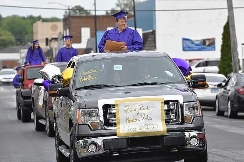 Eldorado High School graduates make their way through their parade Friday.