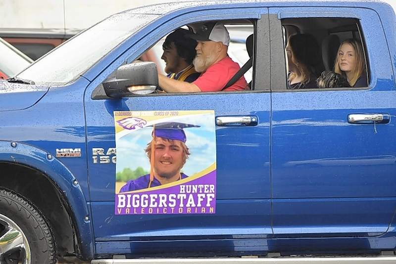 EHS Class of 2020 grad Hunter Biggerstaff rides in the graduates parade. See more photos on pages 4 and 5.