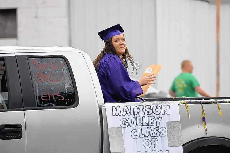 Madison Gully waves at the crowd during the EHS Class of 2020 parade.