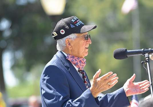 Harrisburg Korean War veteran Don Cooper speaks at Harrisburg's Memorial Day ceremony.