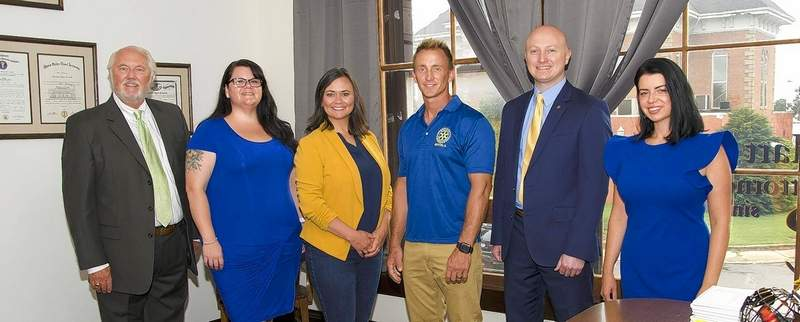 The officers for the Benton Rotary Club for 2020-21 are (left to right) Ken Burzynski (past president), Kelly Fisher (treasurer), Megan Burroughs (sergeant of arms), Jason Corn (president), Jonathan Cantrell (vice president) and Hilary Remm (past president). Not pictured is John D. Aiken (secretary).