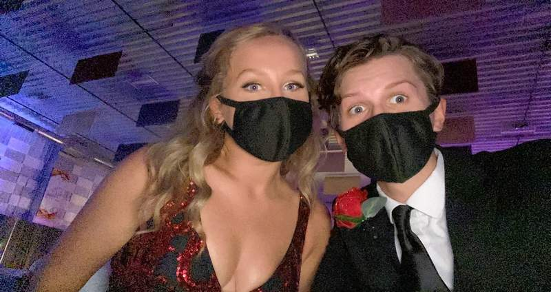 Marion Republican student intern Bella Morris, left, and her date, Reed Absher take a moment for a photo to remember the prom that almost wasn't as they enjoy an evening at the SI Prom.