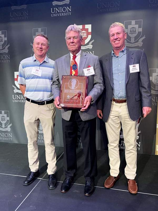Bob Pavelonis is joined by his sons, Britt (left) and Bobby after the elder was inducted into the Union University Hall Of Fame this past weekend. Pavelonis played both basketball and baseball at Union and was the first athlete to earn all-conference honors in two sports.