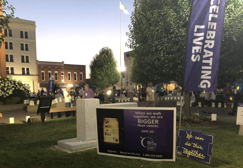 Due to COVID-19 restrictions, the annual Relay for Life event was held outdoors on Marion's Tower Square Plaza on Saturday evening.