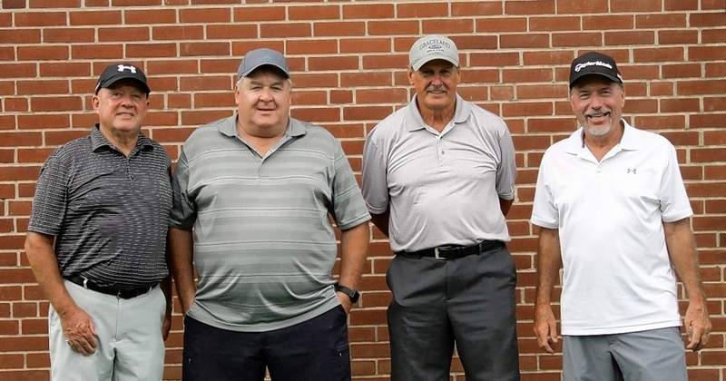 The tournament Championship Flight winners, from left, are Neal McDonough, Gary Rosendahl, Clem Quillman and Mike Kelle.