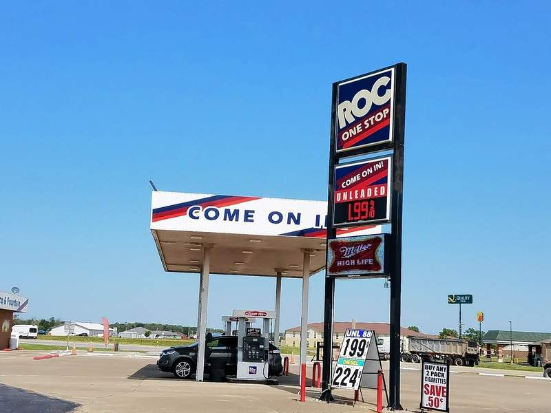 Gas prices in Harrisburg dropped to under $2 Friday and continued through Monday at ROC One's station at the intersection of Commercial Street and the Illinois 13 bypass.