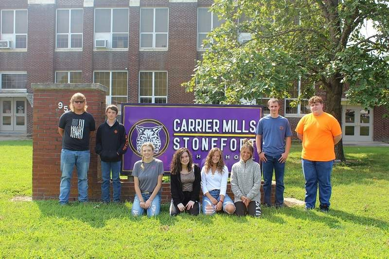 The Carrier Mills-Stonefort High School Purple Pride Award winners for the month of September are, from left, Jeremy Choat, Ethan Nielsen, Alexis Lind, Aubrey Bozarth, Abbi Musgraves, Jade HIll, Dalton Stevers and Ethan Morse.