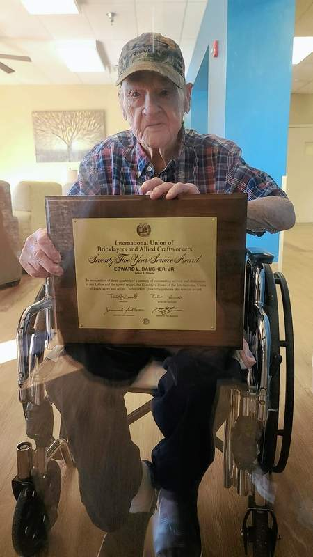 PHOTO COURTESY OF MEESHA BAUGHER WORLEYEd Baugher Jr. displays his 75 year service award from the International Union of Bricklayers and Allied Craftworkers.