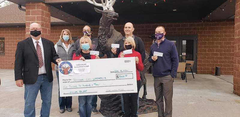 Five local school districts will each get a share of $5,500 from the Harrisburg Elks. The lodge gave funds to Harrisburg, Eldorado, Galatia, Carrier Mills/Stonefort, and Gallatin County to be used for COVID relief.