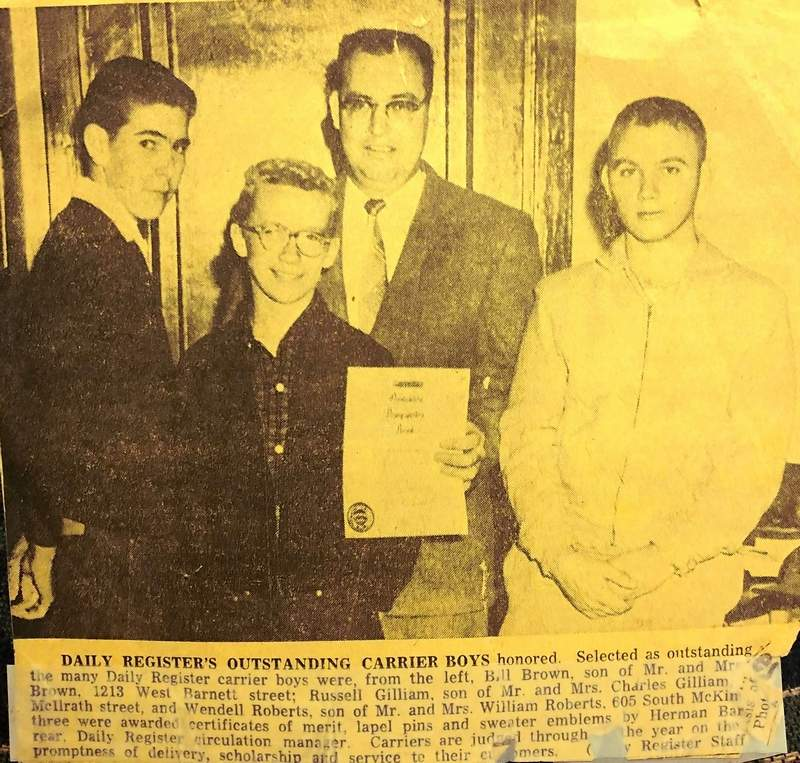 In this news clipping from an old edition of the Harrisburg Register, Circulation Manager Herman 'Barney' Barnett recognizes outstanding newspaper carriers.