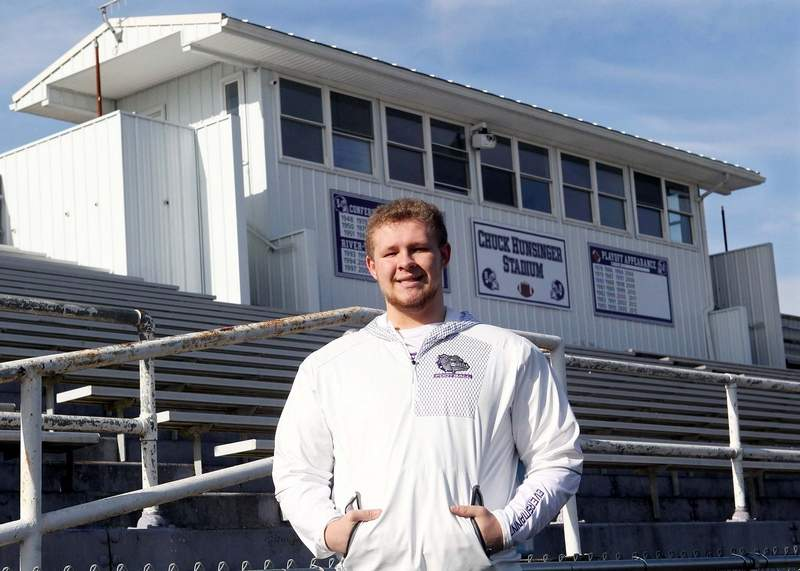 Harrisburg High School senior Blake Eversmann, who would be a senior center for the Bulldog football team, was recently named the Community High School All-Star award winner by the Chicago Bears.