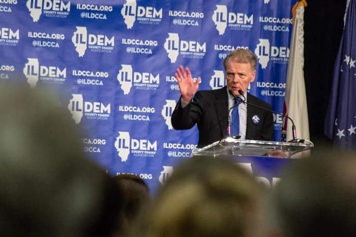 Former House Speaker Michael Madigan speaks at an Illinois Democratic County Chairs Association brunch in 2019.